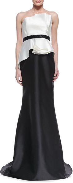 Carmen Marc Valvo Strapless Ruffle Bodice Combo Gown, Ivory/Black #white #ivory #black #gown #two #piece #belted #bridesmaid #bridesmaids #strapless #valvo #ruffle #ruffles #chic #ball #sale