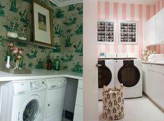 Papel de parede na lavanderia!
