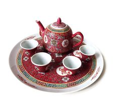 Vintage Chinese Tea Set Vintage Red Ceramic 7 Piece Set