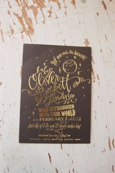 Bespoke Over the Moon birth announcement, w/ gold foil | Lindsay Letters
