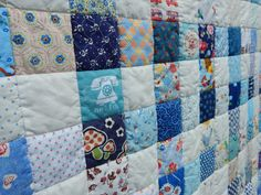 A really beautiful quilt with so many fun fussy cut prints ~ 235+ different quilting cottons (and a few linen/cotton prints)! All from stash. Feast your eyes on all the fun prints while keeping warm under this cotton and wool quilt!  Lots of retro prints, Japanese fabrics, and even some vintage fabrics! Does it get any better than that!  I have given this quilt a quick rinse and dry and it washed up so beautiful, fluffy and soft! All really to snuggle in! Batting is 100% wool from Quilte... Wool Quilts, Rag Quilt, Gingham Quilt, Nine Patch Quilt, Traditional Quilts, Custom Quilts, Japanese Fabric, Love Blue, Vintage Fabrics