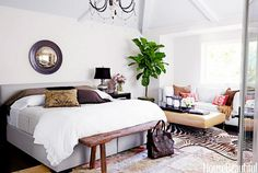 eclectic bedroom with fiddle leaf fig tree and sofa with ethnic throw pillows and a zebra hide