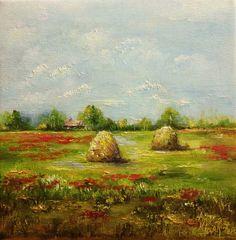 Landscape Haystacks Original Oil Painting by Nina R.Aide