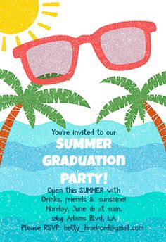 Download a free printable party invitation template with a clipart summer graduation party printable invitation template customize add text and photos print or download for free stopboris Images