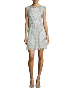 Sleeveless Beaded Art Deco Cocktail Dress by Aidan Mattox at Neiman Marcus.
