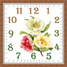 Coffee Clock, Clock Printable, Clock Flower, Fancy Watches, Diy And Crafts, Paper Crafts, Diy Clock, Arte Popular, Decoupage Paper