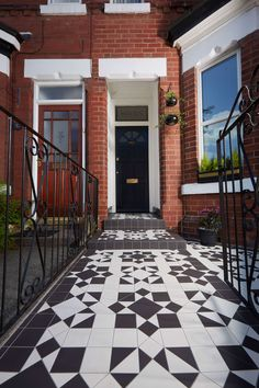Transform the front of your home with Victorian style geometric floor tiles. An intricate pattern looks very chic in a monochrome palette of black and white. Available from TileStyle. Front Garden Path, Front Path, Victorian Front Garden, Victorian Tiles, Tile Manufacturers, Style Tile, House Front, Victorian Fashion, Curb Appeal
