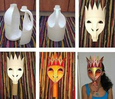 Carnival mask DIY costumes, disfraces - Carnival and halloween - Mascara carnaval DIY Diy Carnival, Carnival Masks, Carnival Signs, Plastic Bottle Crafts, Recycle Plastic Bottles, Plastic Jugs, Recycled Bottles, Recycled Crafts, Recycled Toys