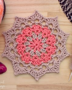 Ravelry: Birthday Mandala pattern by Julie King--small doily Crochet Dollies, Diy Crochet, Crochet Crafts, Crochet Hooks, Crochet Projects, Crochet Mandala Pattern, Crochet Squares, Crochet Patterns, Crochet Dreamcatcher Pattern Free