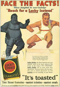 Lucky Strike Cigarette Ad ... Sold as a Dietary Aid to Men. Just look at that vigor, and all from smoking! #vintagebeauty