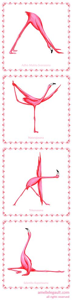 It's funnier to learn yoga with flamingos! 31 poses prints available at Amelie Legault Etsy