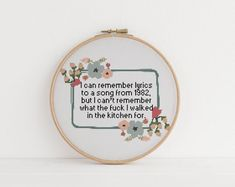 I can remember lyrics to a song from 1982 but i cant remember what i came in here counted cross stitch xstitch funny Insult pattern pdf Cross Stitching, Cross Stitch Embroidery, Embroidery Patterns, Hand Embroidery, Hardanger Embroidery, Loom Patterns, Knitting Patterns, Funny Cross Stitch Patterns, Cross Stitch Designs