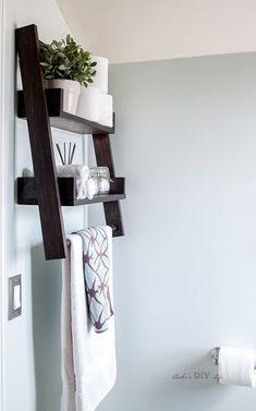 awesome floating bathroom shelves towel | DIY Floating Ladder Shelf - with Plans | DIY Home ...