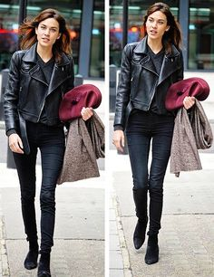 Alexa Chung in total black and black leather jacket