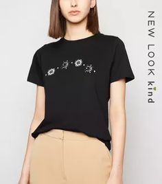 Shop Black Mystic Print T-Shirt. Discover the latest trends at New Look. White Tops, Black Tops, Lace Print, Rock T Shirts, Wide Leg Trousers, New Look, Latest Trends, Fitness Models, T Shirts For Women