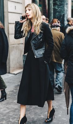 Dress + Striped Shirt + Leather Jacket: To give your favorite dress new life, style it with a tee underneath. Then finish off with your leather jacket; it's a winning combination. (2-Minute Outfits You Can Easily Throw Together via @WhoWhatWear)