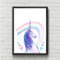 Unicorn Art ~ Printable Wall Art ~ Unicorn Party Print ~ Rainbow Art ~ Unicorn Decor ~ Unicorn Wall Decor ~ Digital Print ~ Instant Download BUY 2 PRINTS - GET 1 FREE with COUPON CODE HELLO  Unicorn Art- High-Quality Digital Print.  You will receive artfully prepared printable High Resolution (300dpi) Digital Images - Without Watermarks.  PLEASE NOTE: This is a digital download only, no physical product will be shipped and the frame is not included. Printed colors may vary slightly from your…