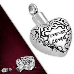 Stainless Steel Forever Loved Heart Monogram Openable Heart Urn Memorial Pendant #MysticSteelJewelry #Pendant