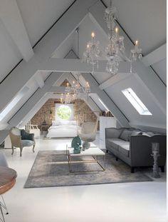 Open space in mansarda - dettaglio soggiorno classico #retrohomedecor