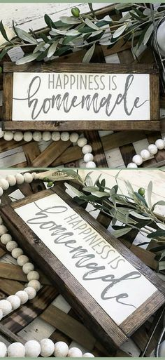 Happiness is Homemade Sign, Happiness is Handmade, Farmhouse Sign, Fixer Upper Sign, Farmhouse Decor, Rustic Decor #ad
