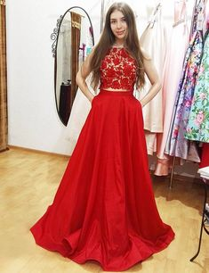 two piece prom dresses, red prom dresses, long prom dresses,2017 prom, dress of prom, evening dresses, fashion, style,