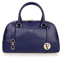 5d9f89242c42 Furla Dolly Navy Pebbled Leather Handbag ( 235) ❤ liked on Polyvore  featuring bags