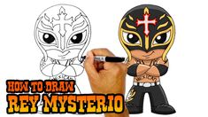 How to Draw Rey Mysterio from WWE. Happy Sunday everyone! Today we'll be showing you how to draw Chibi Rey Mysterio from WWE. Easy Cartoon Drawings, Easy Drawings, Cartooning 4 Kids, Mysterio Wwe, Kratos God Of War, Happy Sunday Everyone, Simple Cartoon, Mexica, Kawaii