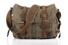 Leather Canvas Messenger Bag/ Shoulder Bag/ IPAD by RockCowStudio, $68.00. Nice work or weekend bag.