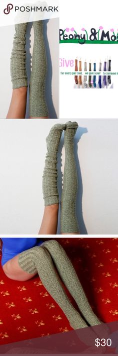 Dried Herb Marled Thigh High High Socks Thigh high socks in a marled yarn of pale green and black twisted together. Beautiful intricate cable knit pattern from foot to top of leg. One pair pack.  Women's one size.  Beautiful socks designed in Seattle.  Made on specialty sock knitting machines.  Made in USA  65% soft, absorbent cotton, 9% nylon for shape, 1% spandex for stretch.  Machine wash, do not dry clean or bleach. Peony and Moss Accessories Hosiery & Socks