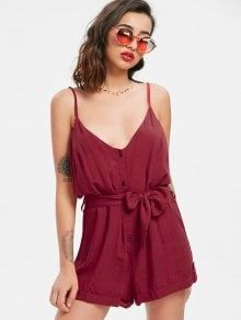 258944044352 Belted Button Up Romper. Casual BeltCute RompersFashion Over 40Jumpsuits  For WomenButton ...