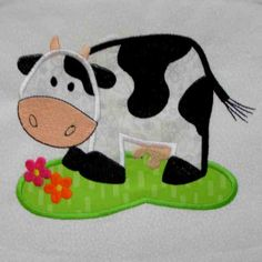 COW Farm Applique and Embroidered Quilt Block by by amyglitterbug, $6.99