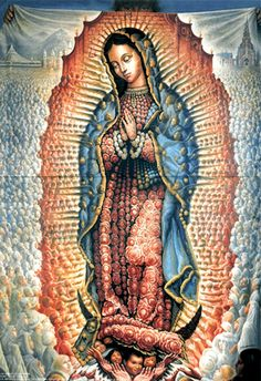 """""""Our Lady of Guadalupe"""" by surrealist painter Octavio Ocampo, hung in St. Religious Icons, Religious Art, Religious Tattoos, Madonna, Metamorphosis Art, One Photo, Lady Guadalupe, Art Database, Mexican Art"""