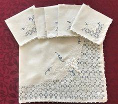 Table Topper Napkin Set Vintage Linen by VintageLinenGallery