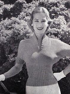 Cutaway Neckline Sweater Pattern  March 1955 edition of Stitchcraft Magazine