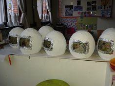 Astronauten helm - Papier Marché + gewonen ballon groot opblazen - Laatste laag wit papier - Laten beschilderen met witte verf - Kijk gaatje uitsnijden en bekleven met zilverpapier - achterkant Logo van Nasa (uitprikken + inkleuren met potlood)
