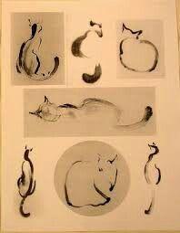 Sumi-e study of cats