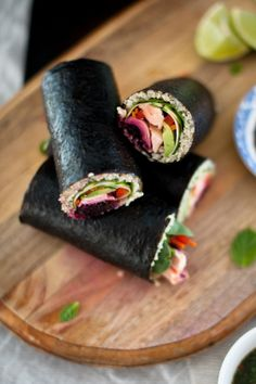 Marinated Salmon and Quinoa Maki rolls w\ Thai Kombucha dipping sauce