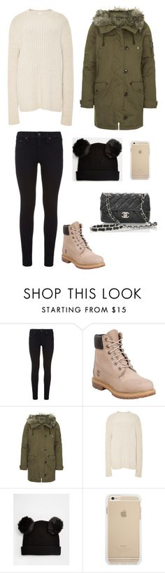 """""""12/07 - Dinner"""" by florenceschroder ❤ liked on Polyvore featuring rag & bone, Timberland, Topshop, ADAM, Monki and Chanel"""
