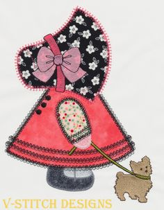 Sunbonnet Sue has been redesigned by V-Stitch. There are 3 designs in this set with various outlines. Can be used with the Accuquilt GO!(TM) Sunbonnet Sue. Coordinates with Overall Sam.