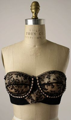 Brassiere  Cadolle  (French, founded 1889)  Date: 1950s Culture: French Medium: nylon, elastic, synthetic
