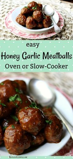Easy honey garlic meatballs are baked in the oven so that the meatballs are tender and the sweet-tangy-spicy sauce forms a sticky glaze. Best recipe ever! from RestlessChipotle.com #appetizer #meatballs via @Marye at Restless Chipotle