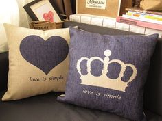 Contracted  love heart-shaped crown back cushion pillow cotton and linen office sofa cushion for leaning on on Etsy, $16.00