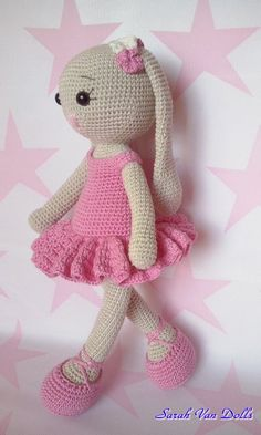 Conejita Cathy ballet - bunny - Handmade Dolls Cotton Made with love from Spain. Crochet Toys Patterns, Amigurumi Patterns, Stuffed Toys Patterns, Knitting Patterns, Crochet Hats, Crochet Animals, Crochet For Kids, Pet Toys, Etsy