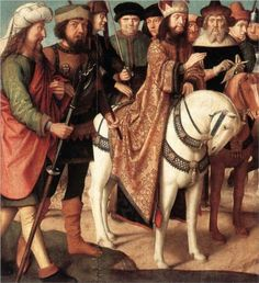 Roman soldiers and Jewish judges (left wing from the Triptych of the Crucifixion) - Gerard David