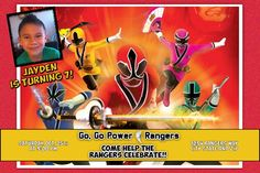 Power Ranger Birthday Invitations