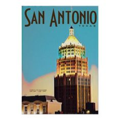 Vintage travel Poster - Texas USA - blue gifts style giftidea diy cyo