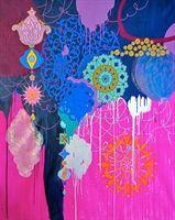 Yasmine Esfandiary: Splendour no. 11, 2010  Acrylic, and glitter on linen canvas
