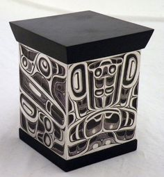 Killer Whale bent box  © Corey Moraes (Tsimshian), 2009.  Hand engraved sterling silver, oxidized with ebony lid.
