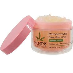 Hempz Pomegranate Sugar Body Scrub is enriched with 100% pure natural hemp seed oil and blended with natural sugar crystals to polish and gently lift away dull, rough skin. 7.3 oz. / 176 g Fragrance: