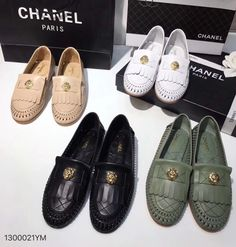 Chanel woman shoes weave leather loafers